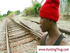Thug guy gets fucked by white dick by the train rails