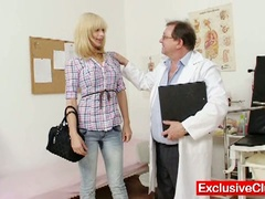 Golden-haired paris visits nasty old gyno doctor to have her pussy examined