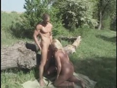 Bisexual hardcore European threesome outdoors