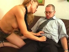 Blonde seduces her boss and bonks him
