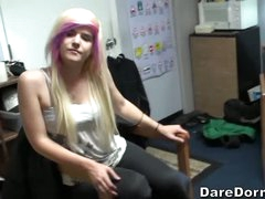 Girls and guys kill time playing soccer in the dorm room. Hotty with blonde and pink hair has fun with latino boy and her roommate. See 'em kick ball and score!